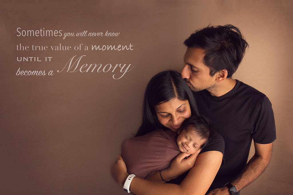 Newborn baby quote with family portrait